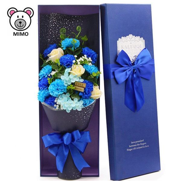 Beautiful Blue Color Plastic Soap Flower Bouquet For Mother Day Custom LOGO New Handmade Carnation Artificial Flowers Of Bouquet