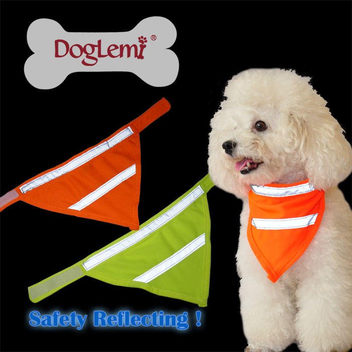 High Visivility Safety Dog Scarf Pet Bandana with Reflecting Neon Color