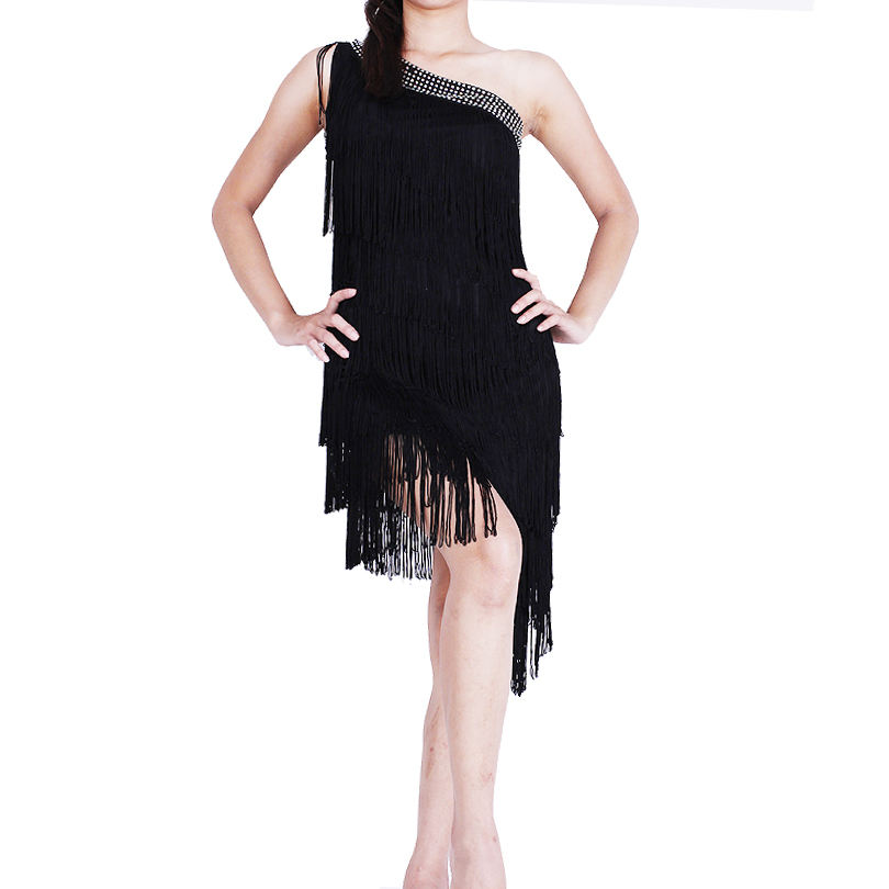Custom Made Lady Latin Dance Dress with Fringes Cha Cha Salsa Dancewear Costumes