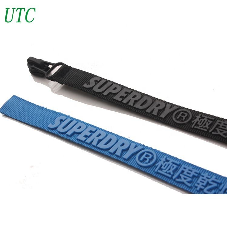 패션 design zipper 풀업 (pull 탭 brand name 양각 logo ribbon zipper puller