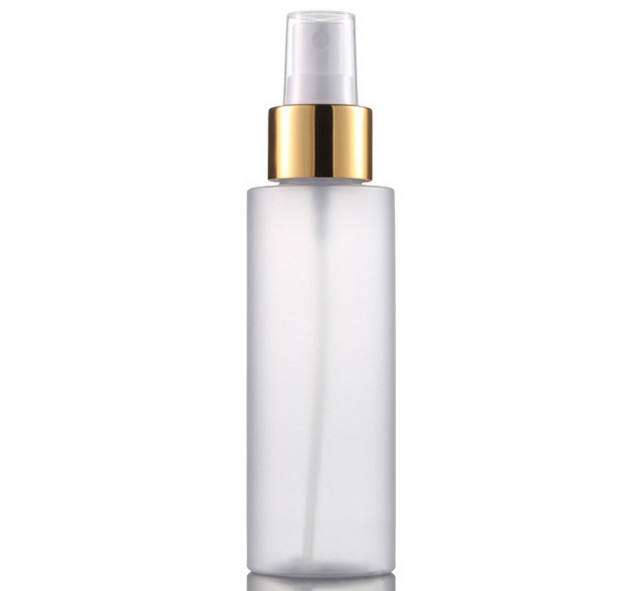 Stock Product Empty 100ml White PET Plastic Contiunous Fine Mist Gold Pump Spray Bottle Facial Toner Cosmetic Bottle