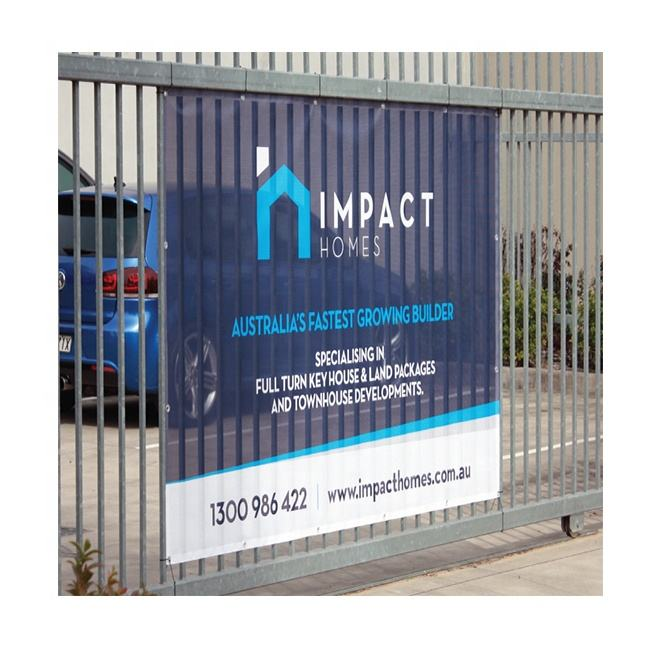 cost effective outdoor poly mesh banner with welded edges and eyelets