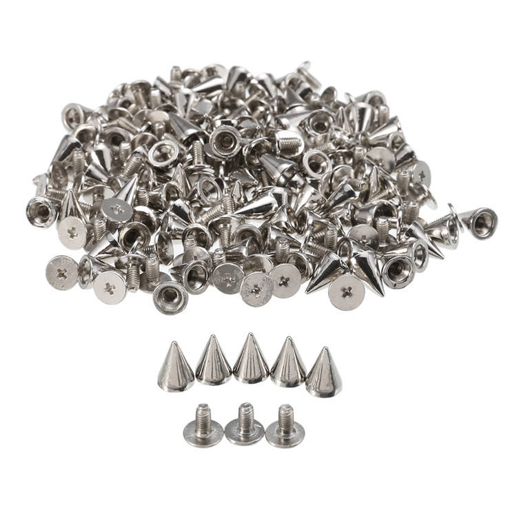 100pcs 10mm Round Spots Spikes Cone Studs Rivet Bullet Screw For DIY Leathercraft