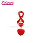 Red Ribbon with heart breast cancer awareness brooch