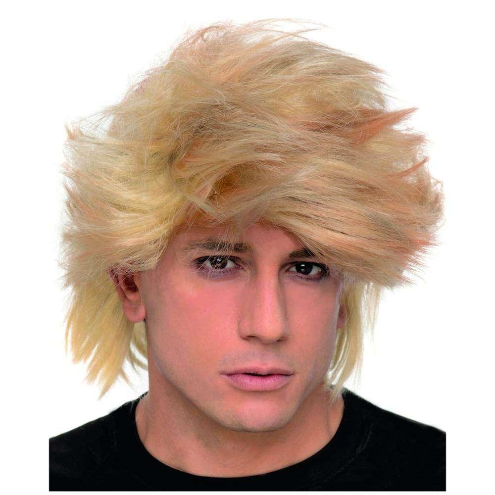 Adult Deluxe 80/'s MULLET Blonde Black Brown Highlighted Glam Rocker Donovan Wig