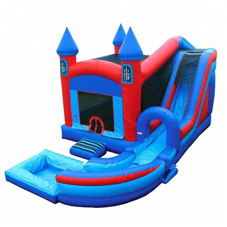 big commercial knight's castle combo inflatable bouncer jumper moonwalk/ moon bounce house/ jump castle with water slide combo