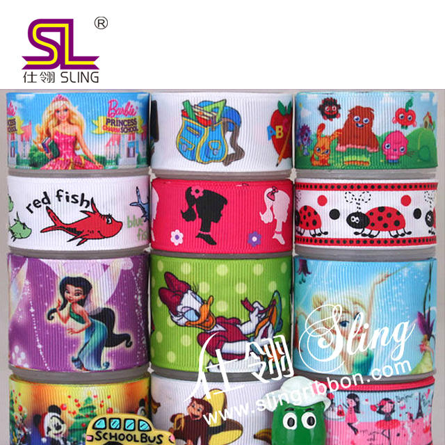 Wholesale Cartoon Printed Grosgrain ,Satin Ribbon
