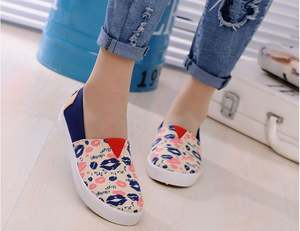 Cheap casual women print mouth shoes ladies flat canvas shoes