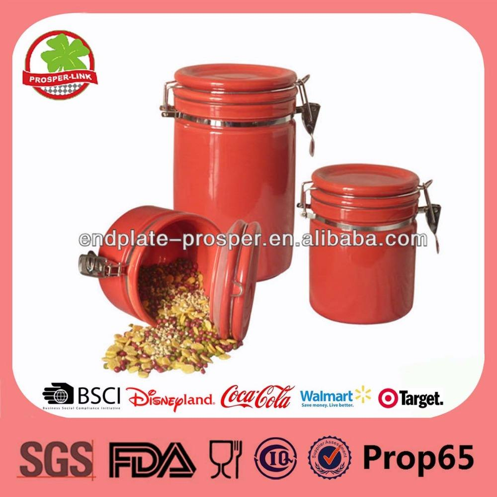 2013 Red Ceramic Airtight Canister Set