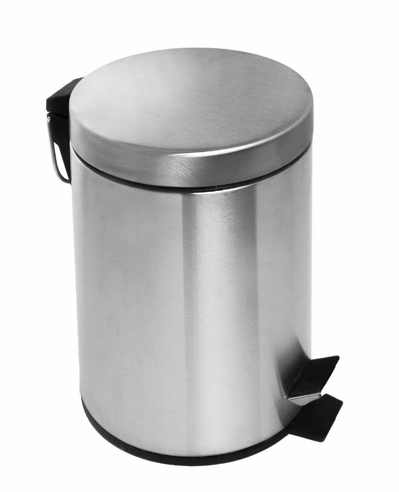 Round Waste Bin Stainless Steel Pedal Bin Garbage Trash Can Dust Bin with Quiet Lid for the Kitchen the Bathroom