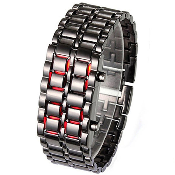 Cool Metal Alloy Iron Samurai Lava LED Digital Wrist Watch