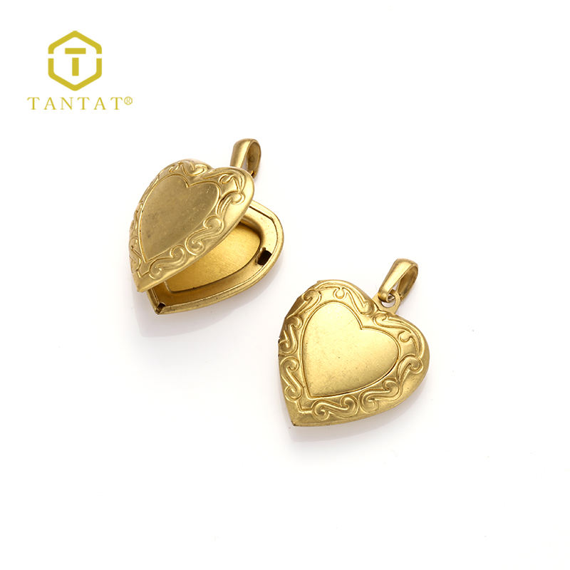 Jewelry Findings Wholesale Stylish Heart Shaped Gold Locket Design