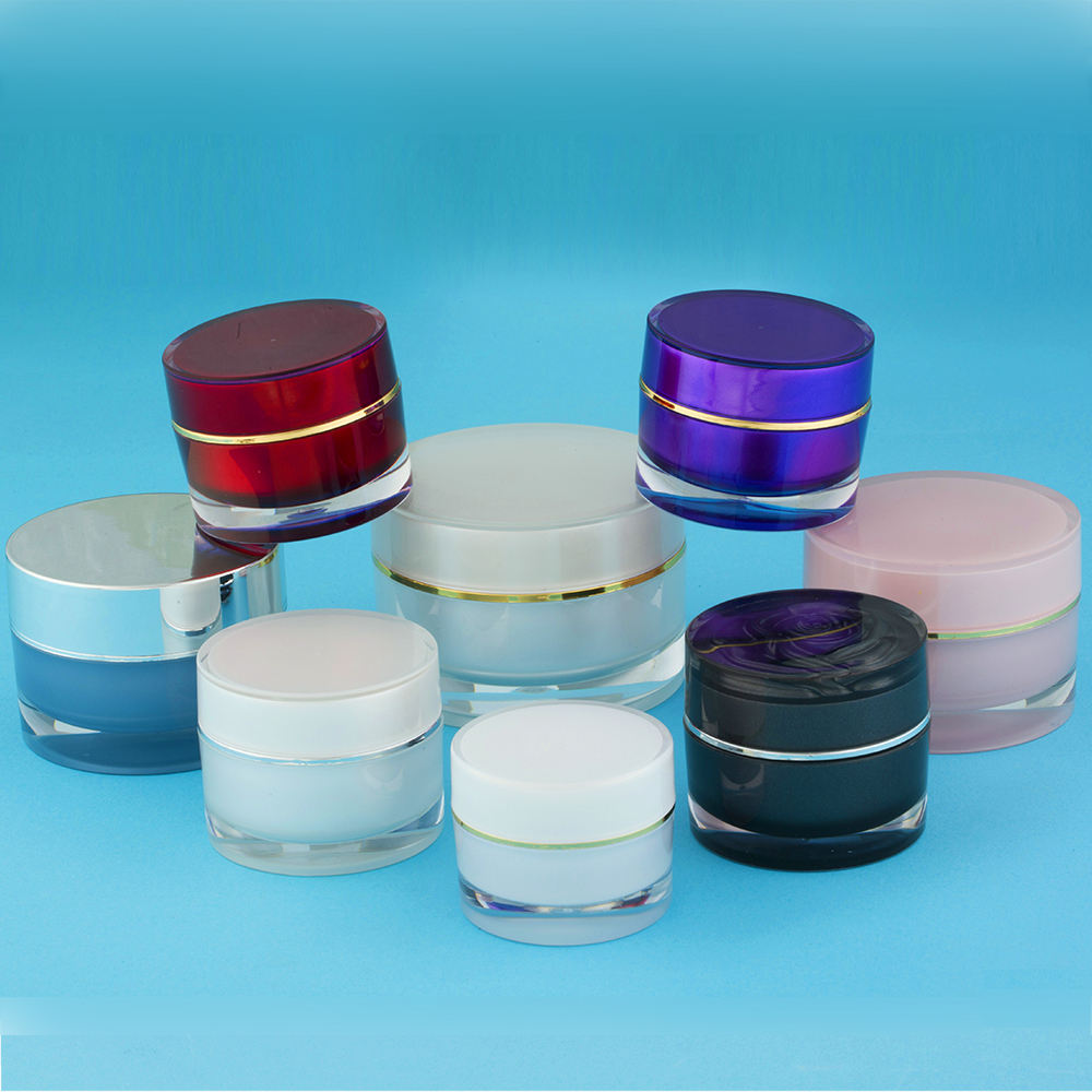 Hengsheng factory wholesale popular classic clear cylinder round acrylic cosmetic cream jar 5ml 10ml 15ml 20ml 25ml 30ml 50ml