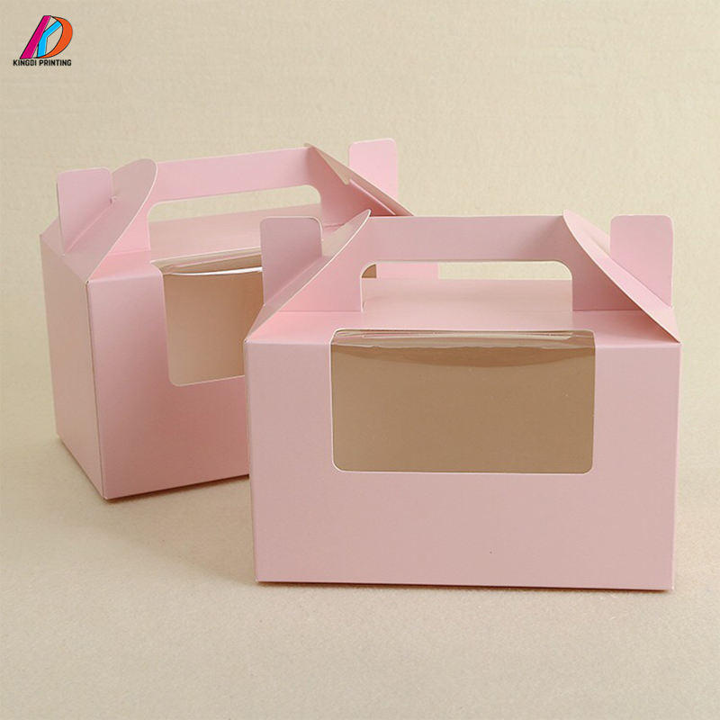 Custom carry handle pink cake/pastry cardboard paper packaging box with window