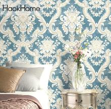 Non Woven Vintage italian Damask Wallpaper Blue/Cream Victorian Wall Paper for living room bedroom Murals Decoration