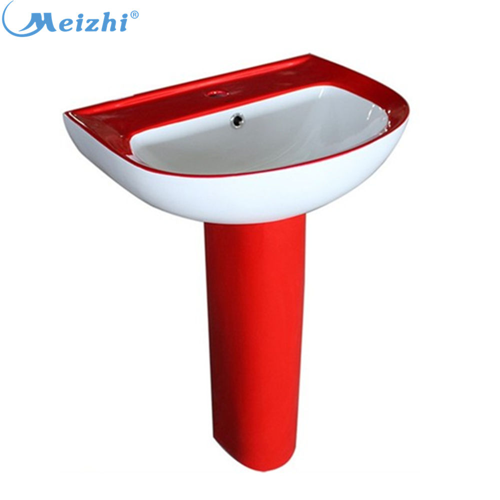 Pedestal bathroom ceramic red mexican sink