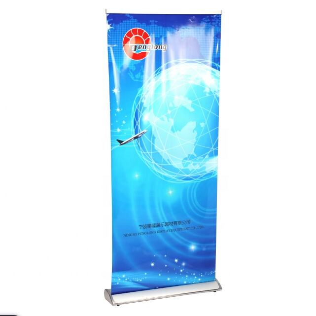 Luxurious single side roll up banner pop up stand 85x200 aluminum alloy exhibition display