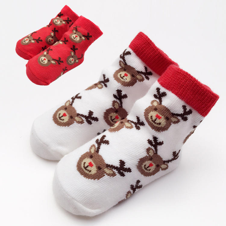 6Pairs Unisex Christmas Xms Gift Baby Toddler Kids Cotton Socks Knit 1-3-5 Years