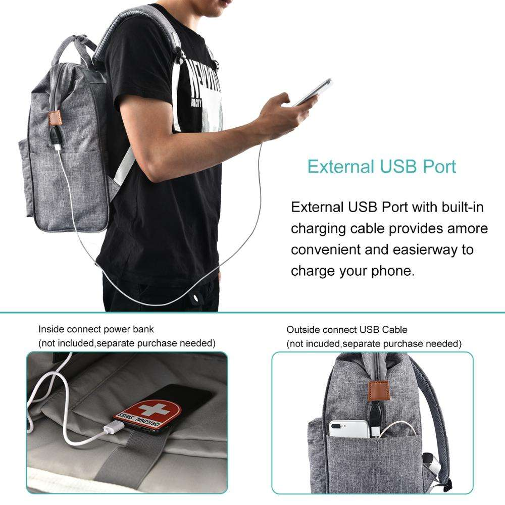 Lokass Promotional Gift 15.6 Inch Wide Open Laptop Bag College Laptop Backpack with USB Charging Port for Women Men