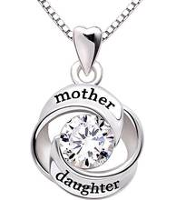 Beautiful ladies design silver mother and daughter gemstone stone necklace 925