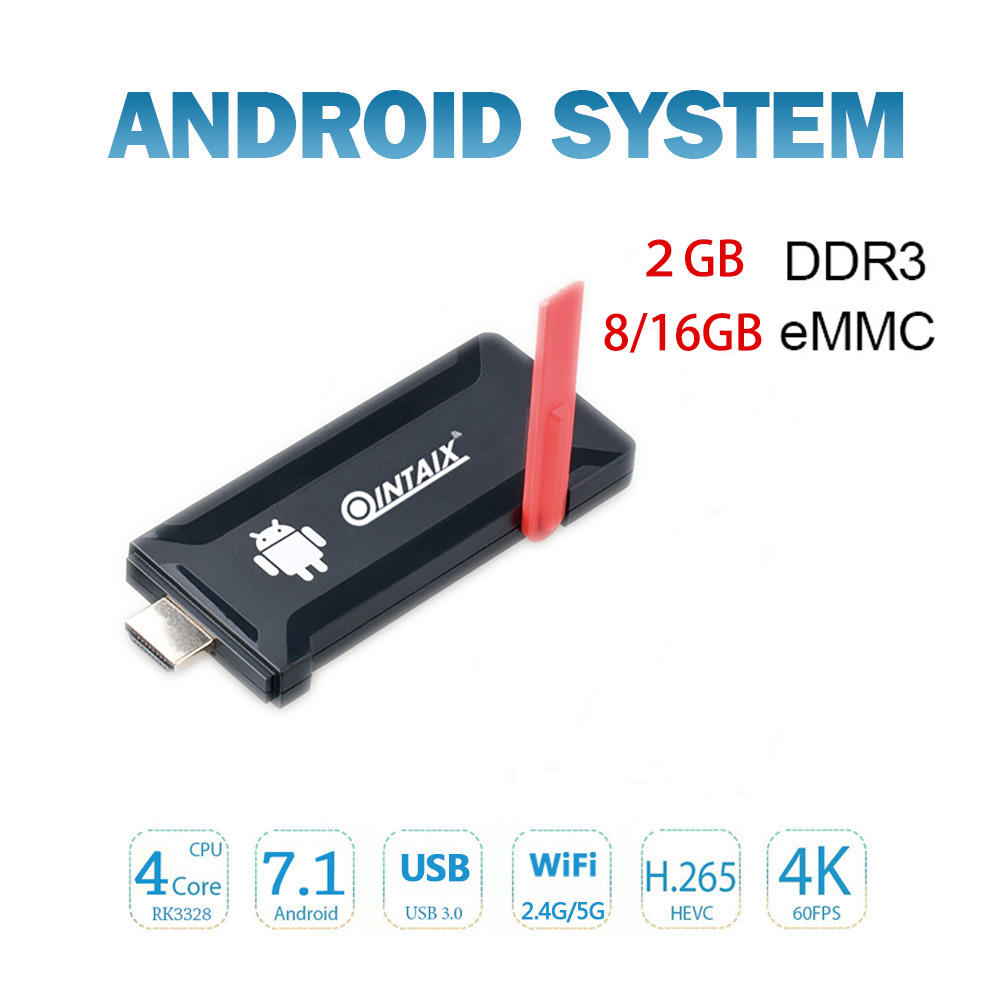 Qcta-core RK3328 CPU Android 7.1 MINI PC QINTAIX R33 Android 4k TV Box BT Multi Dongle
