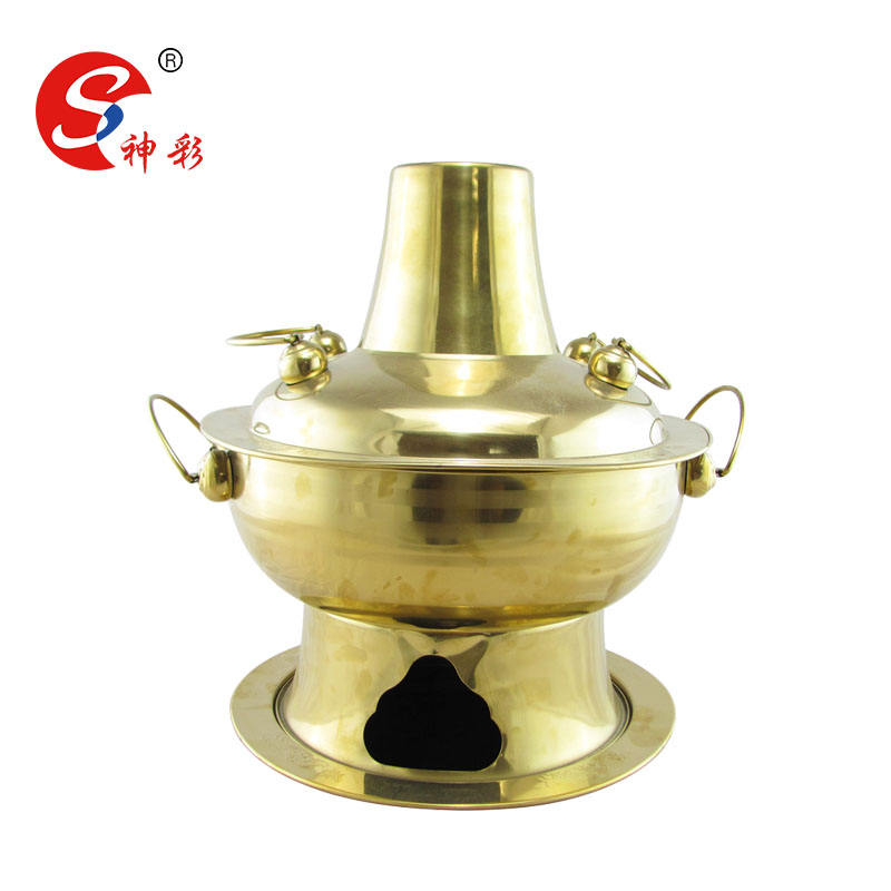 Stainless Steel Copper Coating Shabu Shabu Cooking Pot China Traditional Charcoal Burner Hot Pot