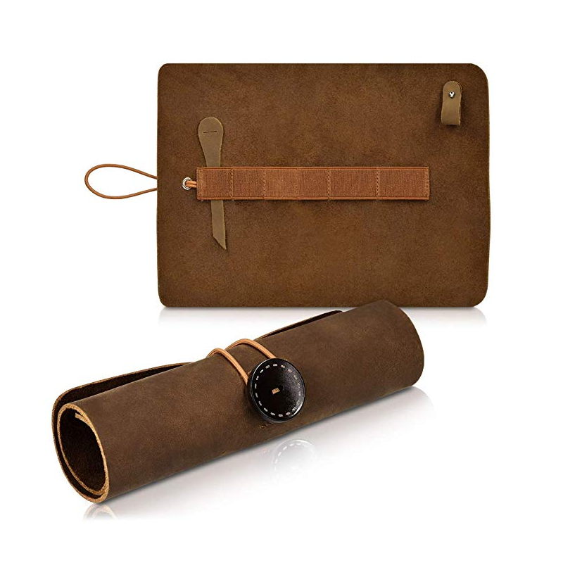 Vintage Style Genuine Leather Pencil Pouch Roll Bag