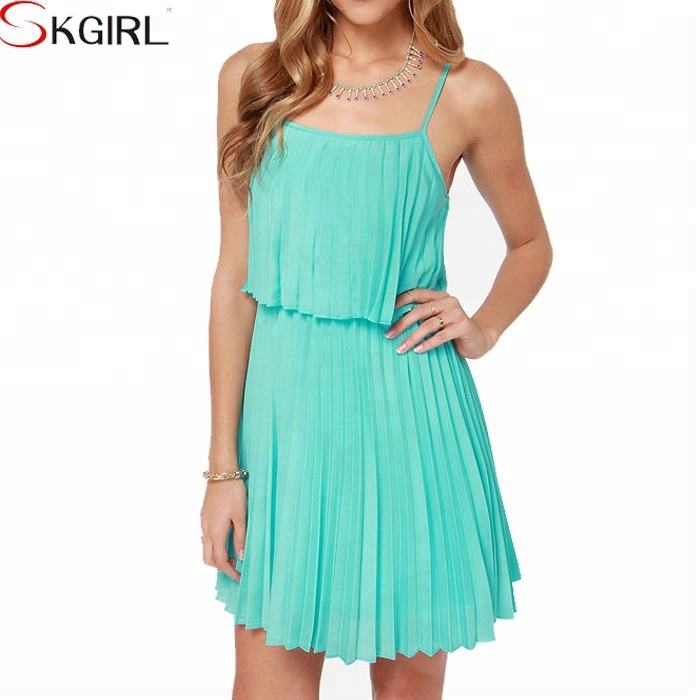 Spaghetti straps pleated chiffon turquoise summer short dresses for women sexy