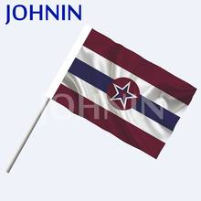 2019 100% Polyester Cheap Price Plastic Fan Waving Custom Hand Flags