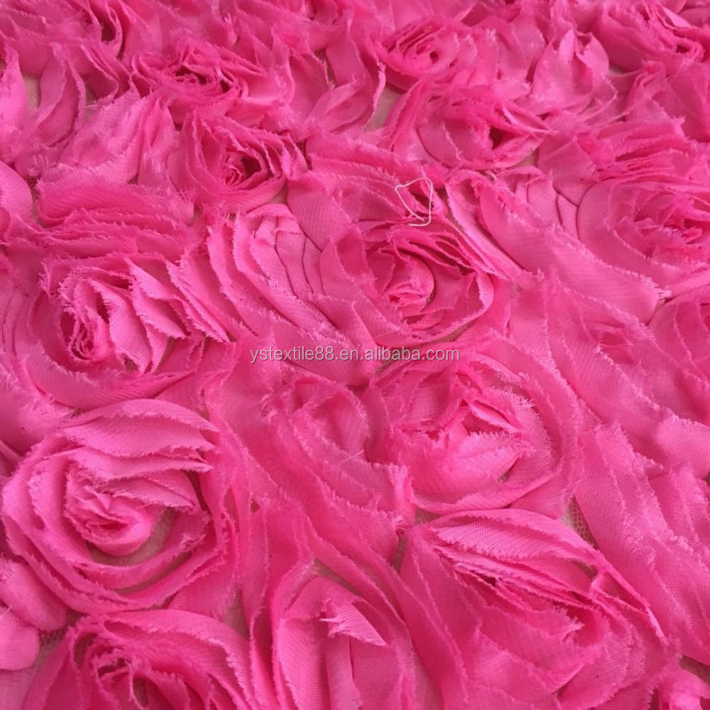 100% Polyester Embroidery Fabric 3d rose flower lace embroidered fabric for homecoming dress YS656