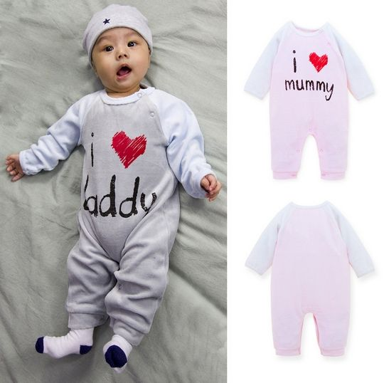 2019 Cheap High Quality Baby Clothes 80% Cotton 20% Polyester Velour I Love Daddy and Mummy Design Winter Baby Romper