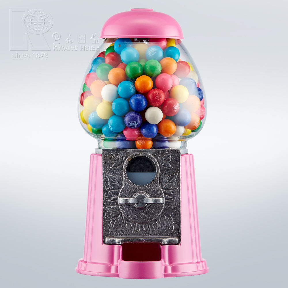 Kwang Hsieh Small Pink Red Metal Bubble Gum Machine