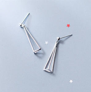 PES fashion Jewelry! Japanese Korea Style Stud Long Triangle Hollow Out Earrings (PES9-1610)
