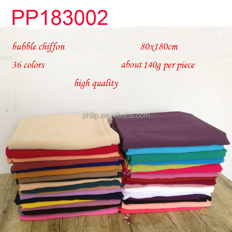 Wholesale Chiffon Plain Hijab Scarf Women Maxi bubble Muslim scarves