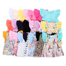 Kids Apparel Flutter Sleeve Baby Girls Shirts Children Boutique Clothing Wholesale Tripe Ruffle Shirt For Kids