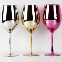 Custom reusable handmade OEM electroplate silver and gold plated wine goblets glass cup