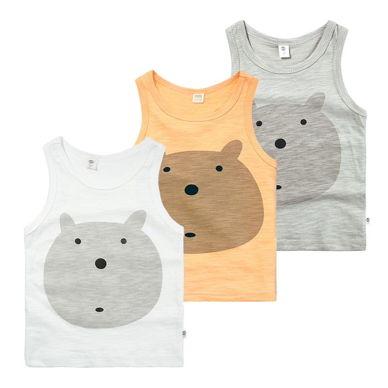 Hot Summer Infants And Toddlers Unisex Cute Bears Vests Baby Boys Organic Cotton Knitting Vest