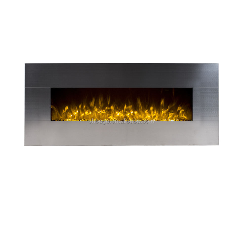 "New design 50"" wall mounted electric fireplace with stainless front panel (WS-G-01)"