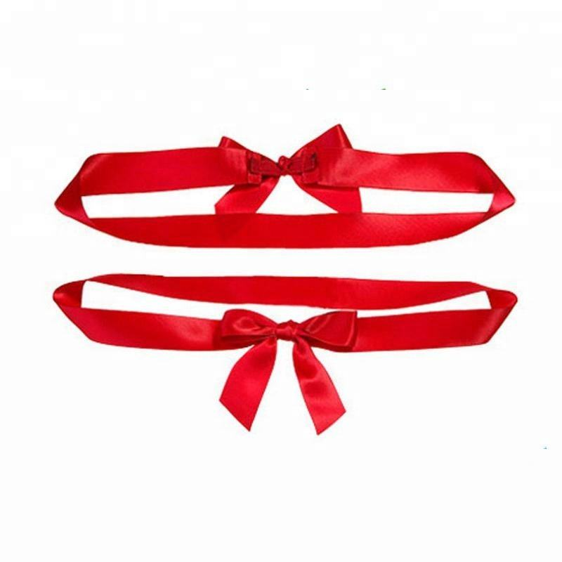 Custom Pre-tied satin ribbon bow with elastic Band for Gift Box