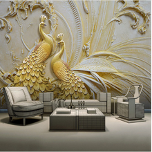 Embossed Golden Peacock Wall Painting Wallpaper Mural For Drawing Room