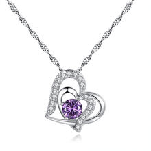 Wholesale Platinum plated double heart necklace Purple Crystal Heart Pendant Necklace