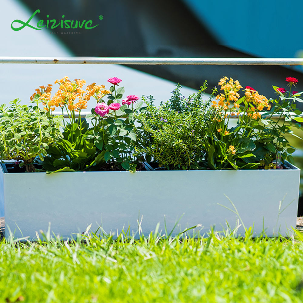 Leizisure High Gloss Flower Pot Plastic Rectangular Street Fence Trough Planter White Window Planter Box