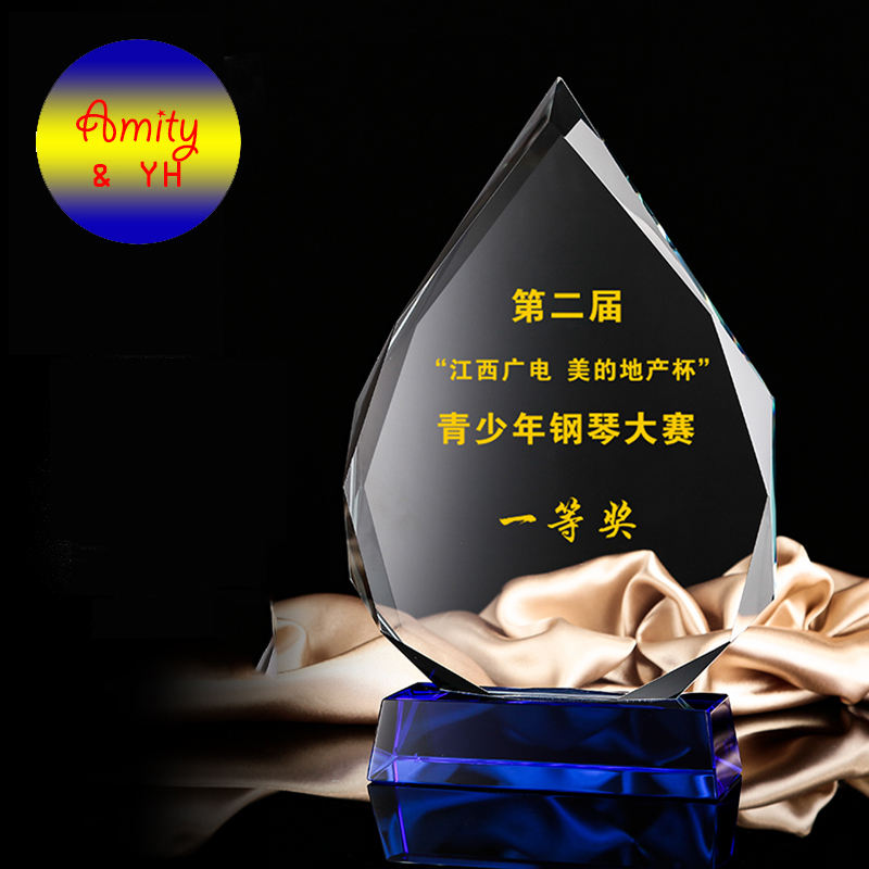 Creative water drop crystal trophy custom glory crystal award medal as event monument souvenir