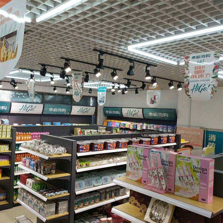 Metal supermarket shopping display shelves rack
