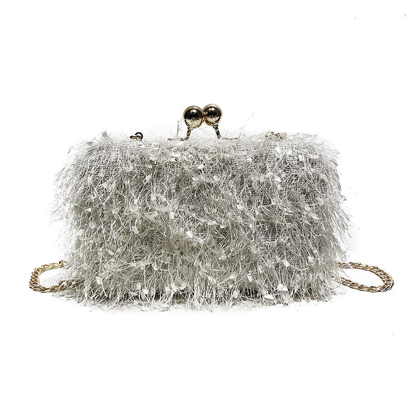 Hot Sale Winter Ladies Exquisite Fur Bag Long Chain Square Bag Clutch Bag
