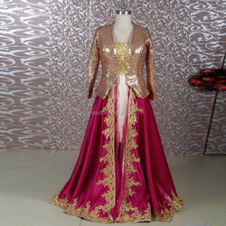 RSE651 Bronze And Burgundy Plus Size Dress For Muslim Mother