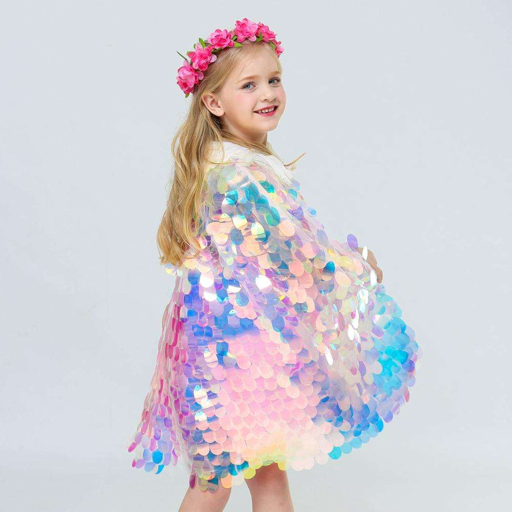 New Girls Mermaid Cloak Shiny Bright Beads Cute Princess Sweet Cloak Christmas Halloween Costume Dress Y11942