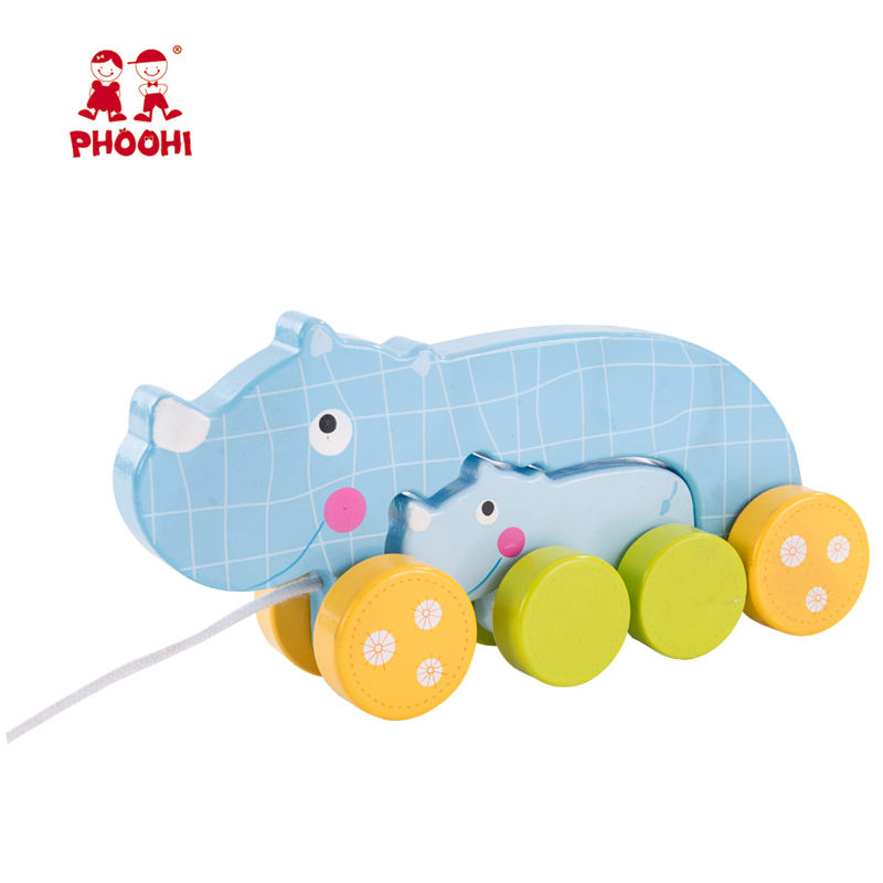 2018 New educational kids blue rhino animal wooden baby pull toy for toddler 1+