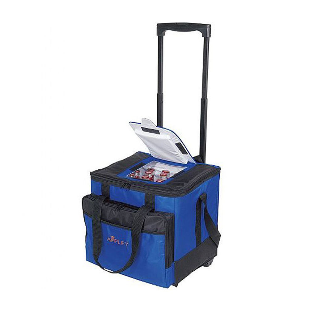 Foldable blue polyester insulated Rolling cooler bag with organizer compartments PVC lining cooler for camping