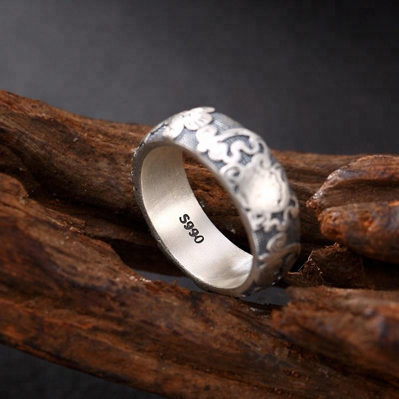 999 Sterling Silver Vintage Jewelry Engraved The Buddhist Eight Treasures Rings For Women and Men